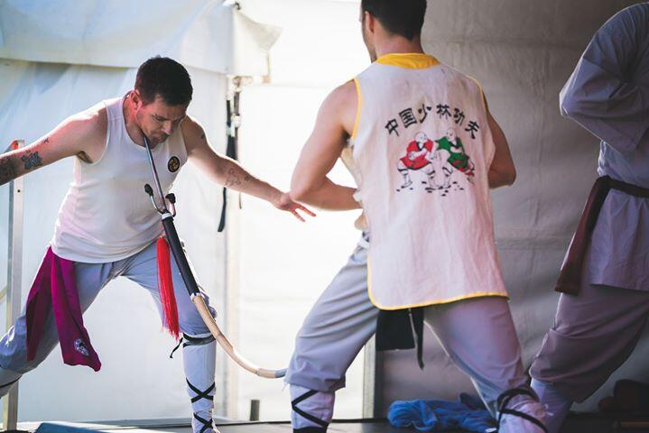 Iron Throat bending a Spear Hard Qigong Chi Kung
